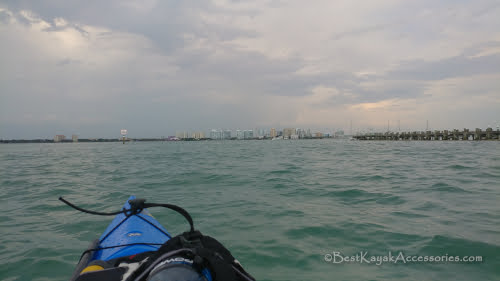 Sarasota Bay, Sarasota Skyline from kayak