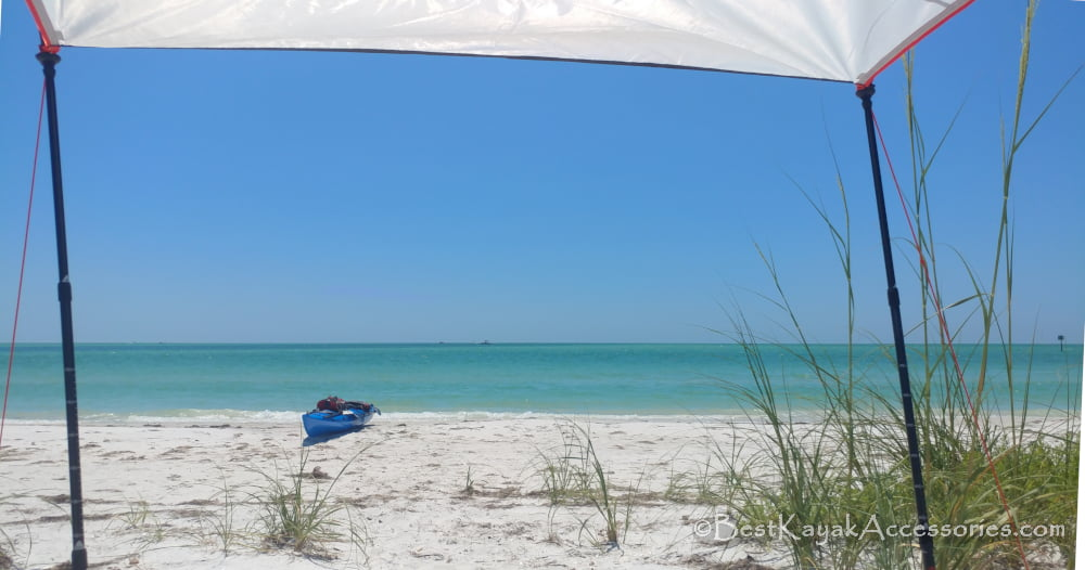 Shell Key camping overlooking Gulf of Mexico and my kayak ©2019 All rights reserved